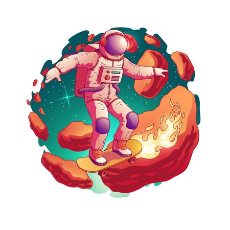 Astronaut in spacesuit riding skateboard with fire from wheels on asteroids belt in outer space cartoon vector icon isolated on white background. Future teenager fantastic pleasure and fun concept