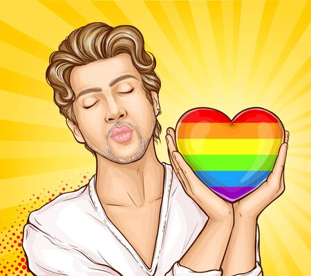 Shoulder portrait of gay man, homosexual male with closed eyes, folding lips for kiss, holding heart colored in rainbow colors pop art vector illustration. LGBT movement, gay pride banner template Ilustração