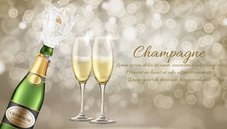 Elite champagne realistic vector advertising banner template. Champagne splashing from bottle with flying out cork, two wineglasses filled sparkling wine or carbonated alcohol drink illustration Ilustração