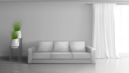 Home living room, apartment hall realistic vector sunny interior in classic style mockup with empty grey wall behind soft sofa, long white curtain on window rod, glossy laminate on floor illustration Çizim