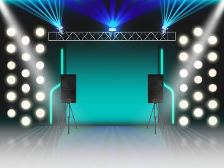 Stage with illumination and dynamics sound equipment. Empty scene with glowing studio light effects, spotlights, laser neon rays, steel rack for lamps, loud speakers. 3d Realistic vector illustration Ilustração