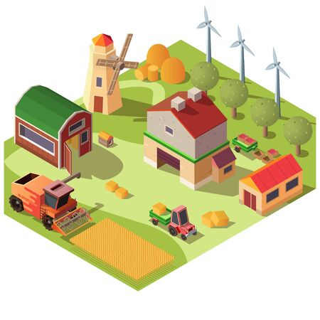 Modern farm or ranch yard with outbuildings, wind turbines, fruit garden and field of grain corps isometric vector. Combine harvester threshing corn or wheat, tractor transporting straw illustration