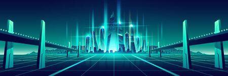 Metropoli della fantascienza, vettore del fumetto della città del mondo virtuale. Due ponti, autostrade, che vanno su una superficie lucida con griglia al neon a grattacieli lucidi e futuristici sull'illustrazione a colori fluorescenti dell'orizzonte