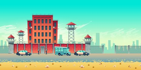 Well guarded city prison building with watchtowers on high brick fence, armed securities, bus for prisoners transportation and police convoy escort cars at jail steel gates cartoon vector illustration Illusztráció