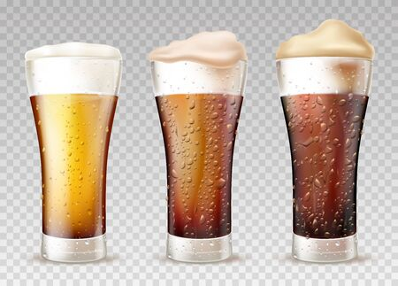 Beer styles from lager to stout 3d realistic vector set. Fresh, cold beer or ale poured in glasses with moisture drops on glass, foam pours out from top illustration isolated on transparent background 스톡 콘텐츠 - 129048790