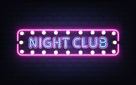 Night club, disco bar or pub glowing bright neon light, retro signboard on brick wall 3d realistic vector with blue letters, white bulb lamps and violet, pink fluorescent illumination illustration