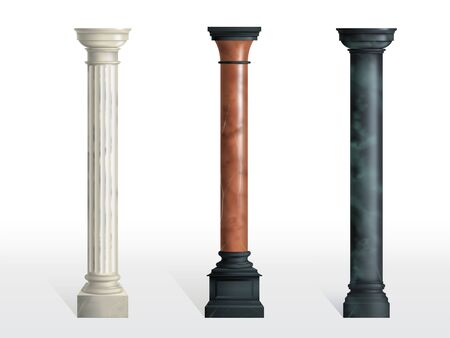 Antique cylindrical columns of white, red and black marble stone with cubical base realistic vector isolated on white background. Ancient architecture, historical or modern building exterior element Illustration