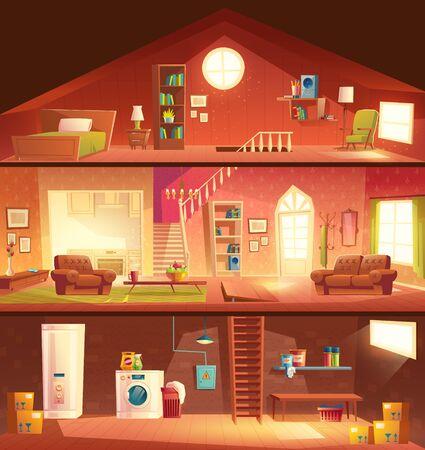 Baumstöckiges Haus oder Cottage Querschnitt Gebäude Cartoon-Vektor-Interieur mit Wäsche im Keller, komfortables, sonniges Wohnzimmer oder Flur, Studio-Küche, gemütliches Schlafzimmer auf Dachboden Illustration
