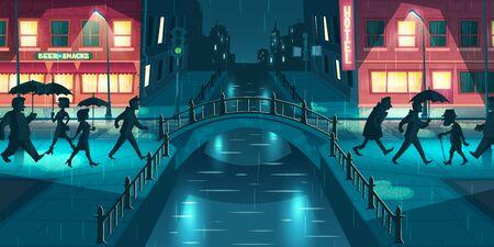 Wet, sloppy autumn weather cartoon vector concept. People under umbrellas walking on city street slush, crossing bridge illuminated with lampposts and signboards lights at rainy evening illustration Ilustração