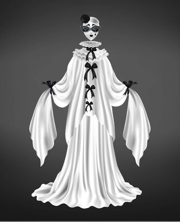 Pantomime pierrot female character suit, harlequin costume, circus comedian with sad face mask, long sleeves and white dress, black bows realistic vector illustration isolated on gradient background