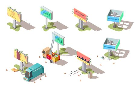 Isometric billboards, advertising street media banners and cars set. Signboards, large outdoor ads structure for marketing and business information promo offers presenting, 3d vector illustration