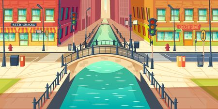 City quay, water channel on town street cartoon vector with empty sidewalks, grocery store and bar or beer pub showcases, city road crossing river with retro architecture arch bridge illustration