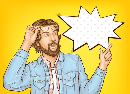 Pop art hipster man with wow face expression. Bearded surprised guy whats up to something with finger pointing to empty speech bubble on yellow background inretro comic book style vector Illustration