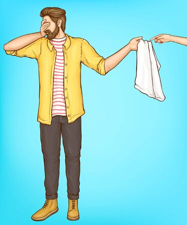 Shy man covering eyes with hand and giving towel to woman palm with red manicure on blue background in retro comic book style. Hipster guy in bathroom with girl. Pop art cartoon vector Illustration