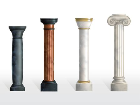 Antique columns set. Ancient stone or marble classic ornate pillars of different colors and textures isolated on white background. Roman or greece facade decoration. Realistic 3d vector illustration 일러스트