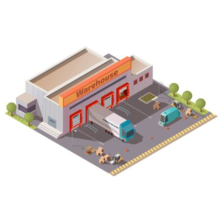 Commercial warehouse, delivery company depot, shipping service storehouse, postal or logistics center building isometric vector with cargo trucks loading, unloading goods at parking gates illustration