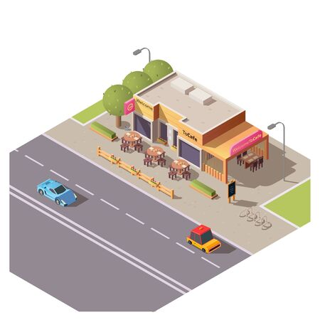 Isometric 3d cafe building with outdoor terrace and round tables at roadside with moving cars. Restaurant, city architecture, cafeteria exterior design with bike parking and trees, vector illustration Illusztráció