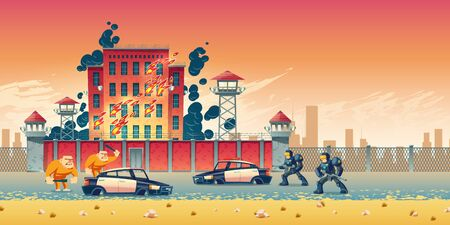 Prisoners rebellion or riot in city prison cartoon vector concept. Inmates escaping from jail, crushing police cars near burning prison building, armed guards, SWAT team in modern armor illustration