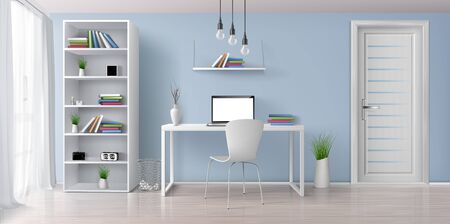 Home office sunny room with simple, white furniture 3d realistic vector interior background. Laptop with blank screen on work desk, bookshelf on blue wall, rack with clock and flowerpots illustration 스톡 콘텐츠 - 135424839
