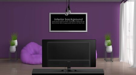 House or apartment cozy living room 3d realistic vector interior background. Painting or photo frame with sample text on purple wall, curtained window, bean bag chairs in front of TV set illustration