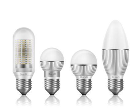 Bombillas LED de diferentes formas y tamaños con disipadores de calor o aletas, base E27, conjunto de vectores realistas 3d de enchufe tipo tornillo aislado sobre fondo blanco. Ilustraciones de sección transversal de lámparas modernas y de alta eficiencia. Ilustración de vector