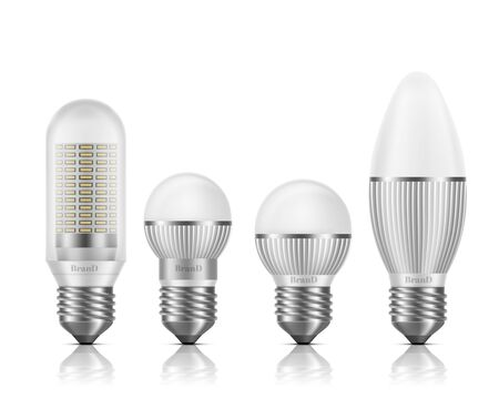 Different shapes and sizes LED bulbs with heat sinks or fins, E27 base, screw-type socket 3d realistic vector set isolated on white background. Modern, high efficient lamps cross section illustrations Vetores