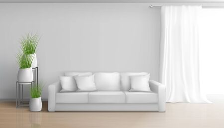 Home living room minimalistic, sunny interior in white colors realistic vector mockup with sofa on laminate floor, long, heavy curtain on window rod, ceramic flowerpots with green plants illustration Illusztráció