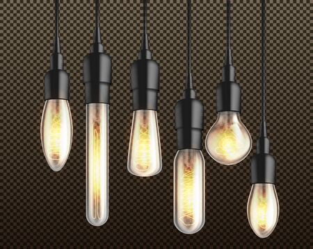 Glowing in darkness different shapes and forms incandescent light bulbs with heated wire filament hanging from above on black wire and holders 3d realistic vector isolated on transparent background.