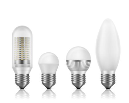 Different shapes and sizes, modern high efficient, longer high-power bulbs with SMD LED chips module inside, matted glass, heat fin cross section 3d realistic vector set isolated on white background Illusztráció