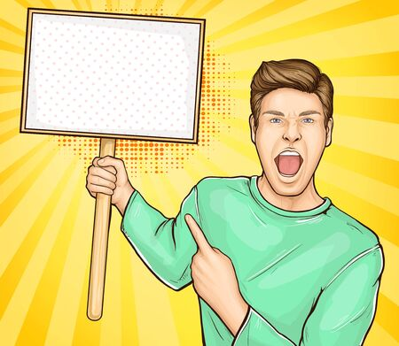 Public protest, unbelievable sale ad poster template pop art vector with excited young man, screaming with expression, showing, pointing with finger on blank placard or banner in hand illustration