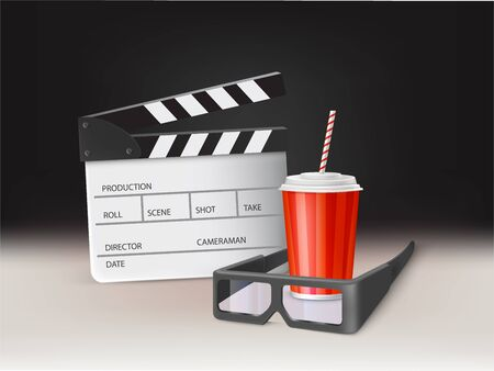 Watching movie in cinema realistic vector concept, poster design template. Cinema 3d glasses, cup with carbonated drink, plastic lid and straw, filmmaking clapperboard on white surface illustration