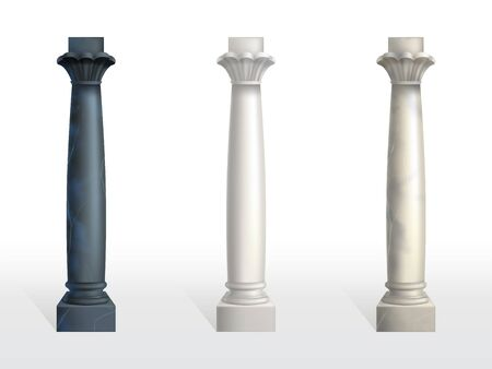 Cylindrical columns of black, white and beige marble stone with petals and rings on capital realistic vector set isolated on white background. Ancient architecture design, buildings structure elements