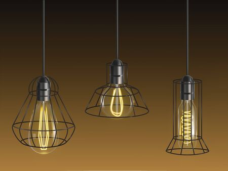 Different shape vintage, incandescent bulbs, retro lamps with heated wire filament and black lattice wire cage hanging from above in holder 3d realistic vector set. Decorative, industrial illumination Illusztráció