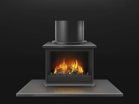 Modern fireplace with burning wooden logs, flame inside metallic firebox realistic vector object. House interior decoration design element, heating equipment illustration isolated on black background Illustration