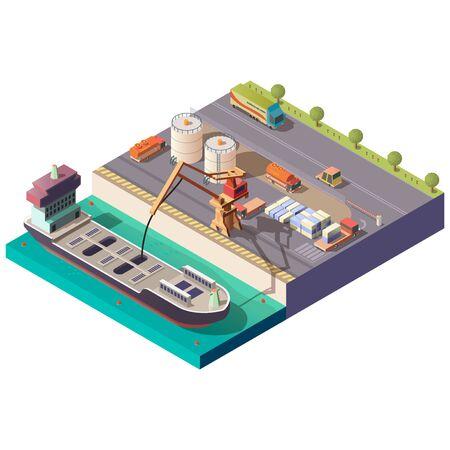 Entrega de petróleo o aceite por mar vector isométrico. Grúa de bombeo de carga líquida desde un buque cisterna en el muelle, camiones que transportan combustible y contenedores desde la ilustración del puerto aislado sobre fondo blanco. Ilustración de vector