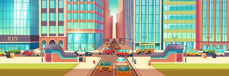 Metropolis crossroads in hour rush cartoon vector concept with stores showcases in skyscrapers buildings, sidewalks, underground pedestrian walkway and cars going on two lane city road illustration