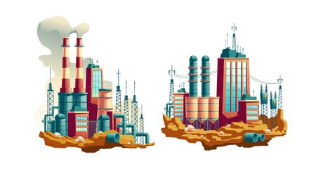 Heavy industry factory, working thermal power plant or station with electricity lines, waste pipes underground and smoke going from chimneys cartoon vector illustrations isolated on white background