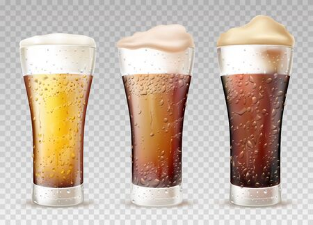 Fresh and cold beer, ale poured in weizen glasses with moisture drops and human finger traces on wet sides realistic vector set. Craft lager types, styles with foam pours out from glass illustration