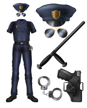 Police officer or security service guard uniform, weapon, accessories cartoon vector set. Policeman costume, peaked cap, sunglasses, handgun in holster, handcuffs, rubber baton isolated illustrations Ilustração