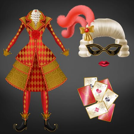 Female joker, harlequin suit, jester costume for carnival, costumed party realistic vector. Expensive checkered dress, wig with feathers, eye mask and painted lips, playing card isolated illustration