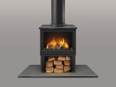 Classic open fireplace with black chimney pipe, dry wood chunks storage, firewood burning red, hot flame in metallic stove isolated 3d realistic vector. Modern mouse heating equipment illustration