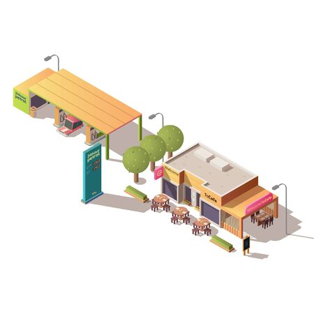 Round the clock fueling, petrol station, road cafe with outdoor seating isometric vector illustration isolated on white background. City architecture, transport infrastructure, urban design elements
