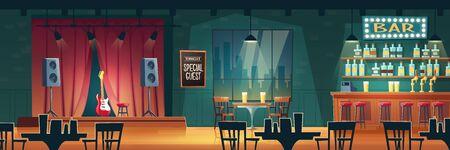 Bar de música, pub de cerveza con interior de vector de dibujos animados de actuaciones en vivo. Barra de bar, mesas y sillas, ilustración de guitarra en el escenario. Músico famoso, concierto nocturno de estrella invitada especial en discoteca