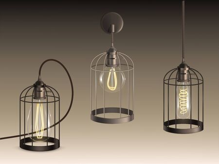 Loft style lamps with different shape incandescent bulbs heated filaments in black lattice cage wall-mounted, standing on surface, hanging from ceiling on wire isolated realistic vector illustrations