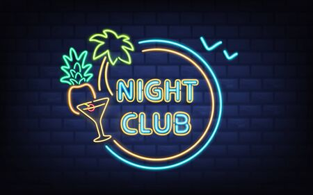 Resort night club, beach cocktail bar retro signboard with palm tree, coconut, cocktail glass glowing blue, yellow, green fluorescent, neon lines on brick wall background realistic vector illustration