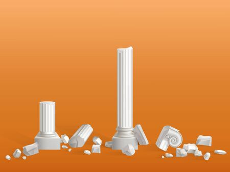 Antique columns of white marble stone broken on pieces, ancient Greek city or Roman empire temple, palace ruins fragments isolated 3d realistic vector illustration. Touristic attraction design element Archivio Fotografico - 137439191