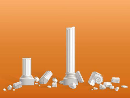 Colonne antiche di pietra di marmo bianca rotte su pezzi, antica città greca o tempio dell'impero romano, rovine del palazzo frammenti isolati illustrazione realistica di vettore 3d. Elemento di design di attrazione turistica