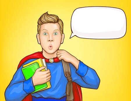 Überraschter Schuljunge, Student im Superheldenanzug, mit Rucksack über der Schulter, Bücher haltend, mit Erstaunen-Popart-Vektorillustration schauend. Verkauf von Schulbedarf, Plakatvorlage für Bildungskurse