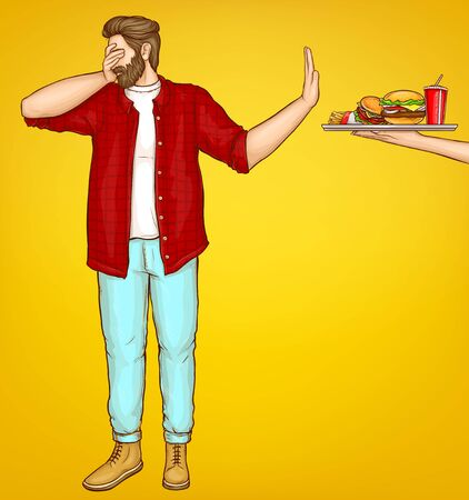 Diet and weight loss control cartoon vector concept. Overweight man dont wont look, turning away, showing stop hand sign for reached tray with high-calorie meals, refusing from fast food illustration