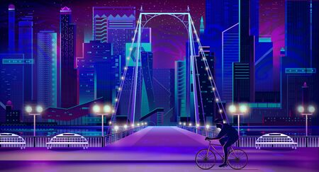 Metropolis night cityscape with illuminated skyscrapers, bridge over river, benches on shore cartoon vector background. Bicyclist riding on city embankment road illuminated by lanterns illustration